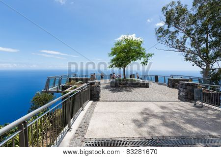 Tourists Visiting A Viewpoint Above The Sea Near Funchal, Madeira Island Portugal
