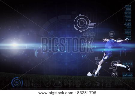 Football player kicking ball against blue dots on black background
