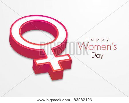 International Women's Day celebration with 3D female symbol on grey background.