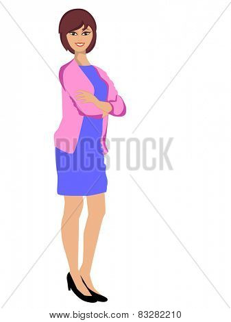 Portrait of a young smiling business woman in formal dress on white background.