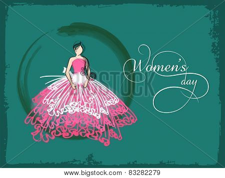Young girl in beautiful pink dress on grungy green background for International Women's Day celebration.