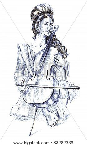 Cello Player. Freehand Sketch. Full Sized, Orignal.