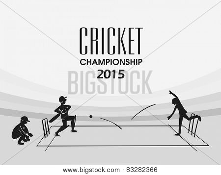 Cricket Championship 2015 with black and white illustration of players in playing action on stadium.