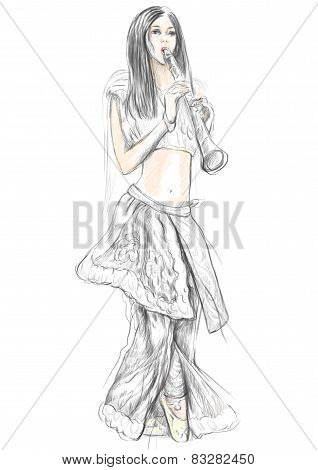 Clarinet Player. An Hand Drawn Full Sized Illustration, Original.