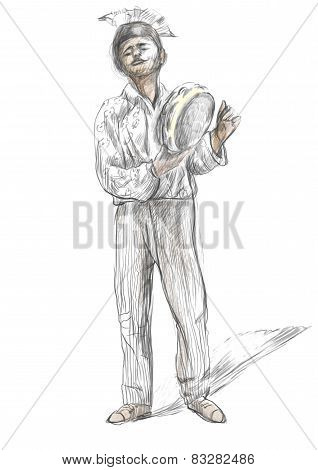 Tambourine Player. An Hand Drawn Full Sized Illustration, Original.