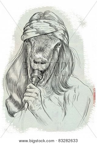 Goat Singer. An Hand Drawn Full Sized Illustration, Original.