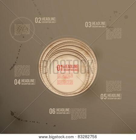 Design template. Dark background. Circle paper cutouts.