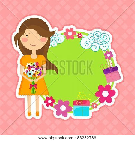 International Women's Day celebration sticky design with space for your text and cute little girl holding a flower bouquet on pink background.