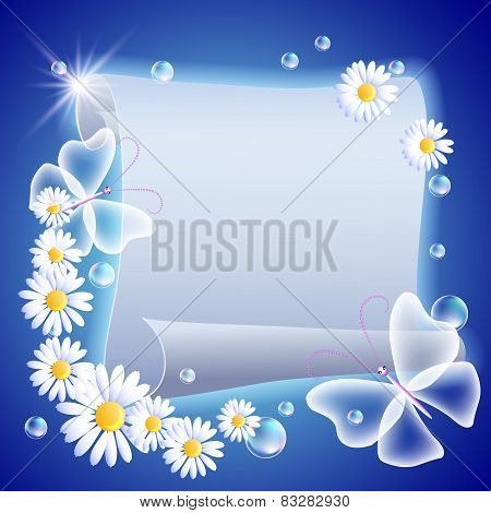 Parchment With Flowers And Butterfliers