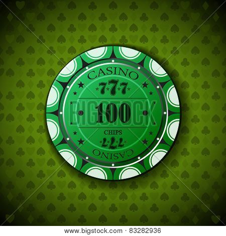 Poker Chip Nominal One Hundred, On Card Symbol Background