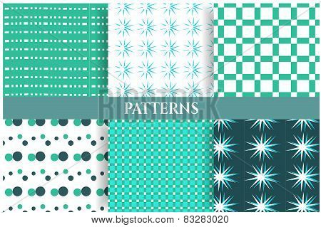 Set of six blue, white, seamless patterns
