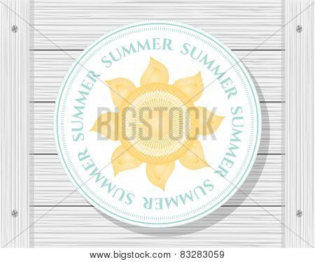 Sun on wooden background
