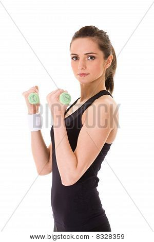Young Attractive Female Exercise Using Blue Half Kilogram Weights