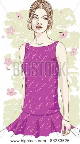 Portrait of a beautiful young woman in a lilac dress on a grunge background. The woman is on a separate layer