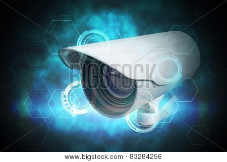 CCTV camera against blue and black technology dial design