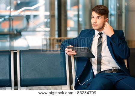 Handsome man in the airport