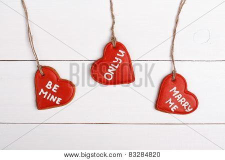 Cookie in shape of heart isolated on white background for Valentines. Sweet things for Valentine's D