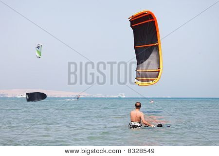 Kiteboarder Lifting Kite