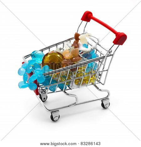 Shopping Cart With Gemstone Beads