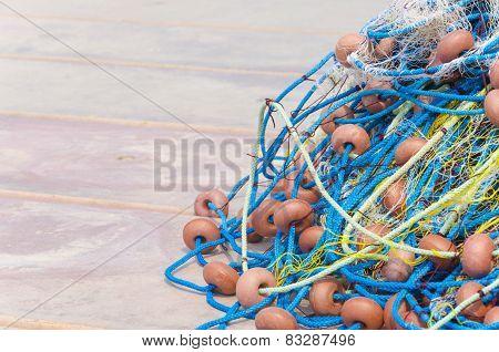 fishing net detail on harbor