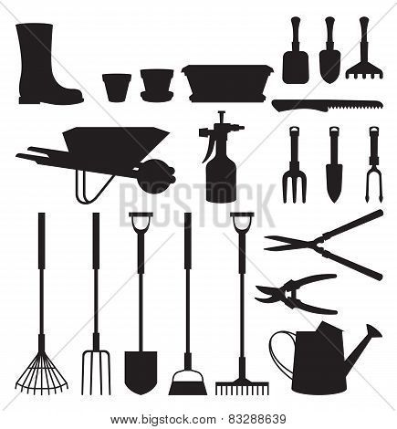 Set Of Silhouettes Of Objects Garden Tools