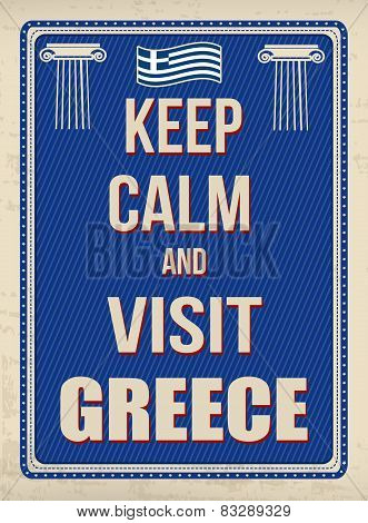 Keep Calm And Visit Greece Retro Poster