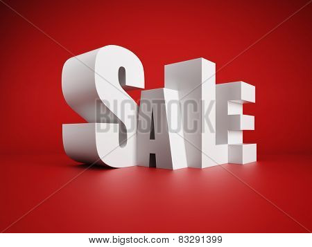 white symbol of sale, 3d rendering