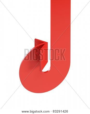 bended red arrow, isolated on white