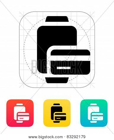 Payment card in smart watches icon.