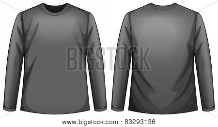 Illustration of a front and back view of a black shirt