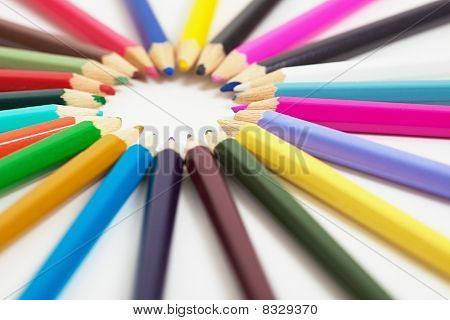 Set Of Wooden Color Pencils