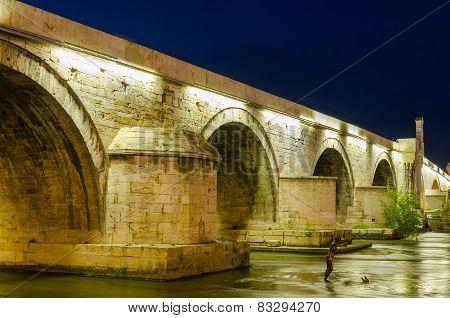 Old Stone bridge in Skopje, Macedonia