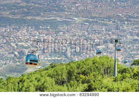 Cable car on a high mountain