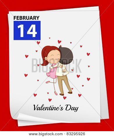 Illustration of February 14 is Valentine