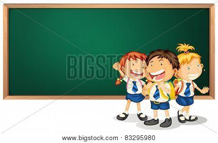 Illustration of three children in uniform and a blackboard