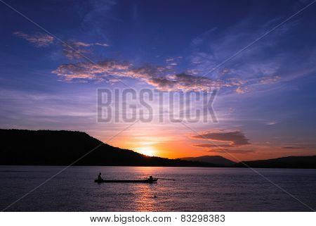 People fishing and sunset at Mekong River. Thailand