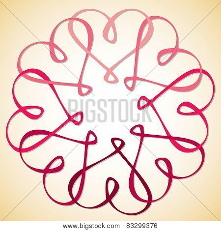 Interlinked Heart Circle In Vector Format.