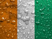 picture of ivory  - flag of Ivory Coast with rain drops - JPG
