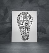 image of lightbulb  - drawing maze in form lightbulb on white poster - JPG