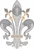 foto of fleur de lis  - fleur de lis beaded artwork with different rhinestones - JPG