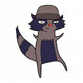 picture of raccoon  - retro comic book style cartoon raccoon - JPG