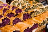 image of stall  - filo pastry strudel at a market stall - JPG