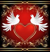 picture of two hearts  - Two dove on red background with heart and golden ornament - JPG