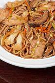 stock photo of buckwheat  - buckwheat noodles with chicken vegetables mushrooms and teriyaki sauce - JPG