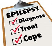 picture of neurology  - Epilepsy word on a clipboard checklist for care and treatment of the neurological disorder causing seizures - JPG