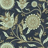 picture of amoeba  - nature seamless pattern in flower shape over blue - JPG