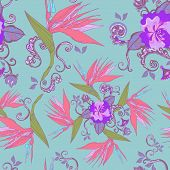 stock photo of bird paradise  - modern bird of paradise flowers seamless pattern over blue background - JPG