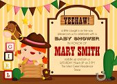 stock photo of baby cowboy  - a cowboy theme invitation card with cute children - JPG