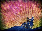 Grunge Motorcycle Rider Illustration
