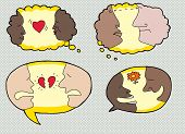 picture of broken heart flower  - Set of speech bubbles with happy sad and serious people - JPG